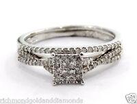 14k White Gold Vintage Double Engagement Style Diamond Wedding Bridal Set Ring
