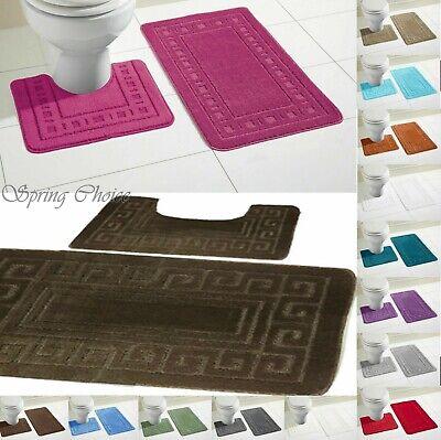 Bagno Doccia 2 Pezzi Greco Design Tappetino Da Bagno Set Antiscivolo & Piedistallo Tappetino Da Bagno-mostra Il Titolo Originale