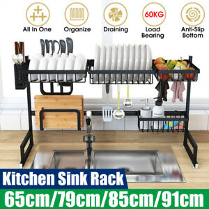 Large-Sink-Dish-Drying-Rack-Holder-Drainer-Stainless-Steel-Kitchen-Cutlery-Shelf