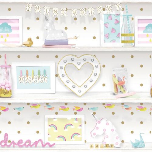 Arthouse 696004 GIRLS LIFE Bookshelf Unicorn GLITTER Girls Bedroom Wallpaper