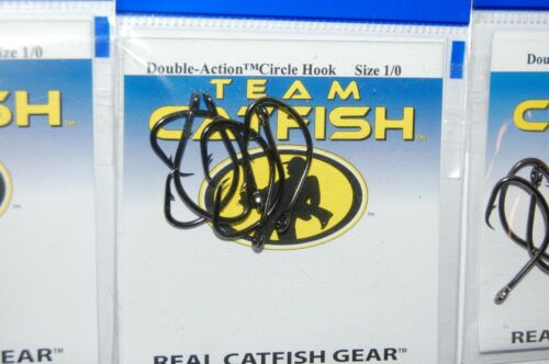 3 packs team catfish hooks real gear double action circle hook size 1//0 bait