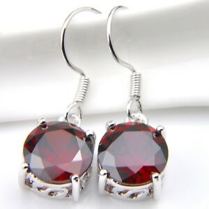 Round-Natural-Stone-Red-Fire-Garnet-925-Silver-Plated-Dangle-Hook-Earrings