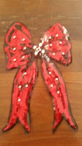 XL-Patch Schleife Bow rot schwarz paillettenbesetzt mit Perlen Aufnäher