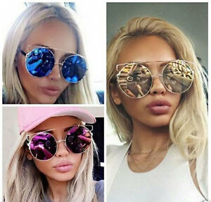 Oversized Big Mirror Lens Metal Frame Technologic Goddess Women Sunglasses