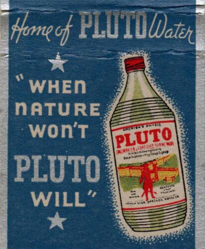 Old Print Pluto Water matchbook cover ad art