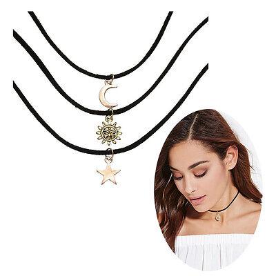 3pcs/set  Women Necklace Choker Gold Sun Moon Star Pendant Black Cord Jewelry