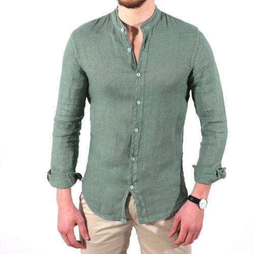 Camicia uomo slim fit LINO colletto alla coreana bianca blu verde senape S a 3xl