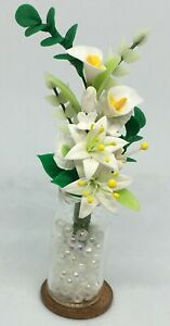 1-12-Scale-White-Tiger-Lilly-In-A-Glass-Vase-Tumdee-Dolls-House-Miniature-Flower