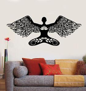 vinyl wall decal yoga meditation girl angel lotus pose