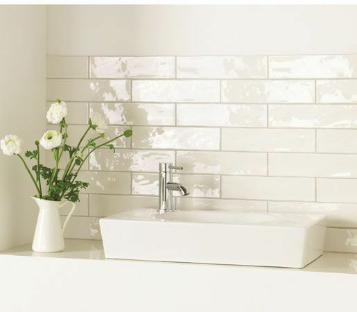 Gloss Kitchen Wall Tiles: Normandy Handmade Rustic White Gloss Bathroom Kitchen