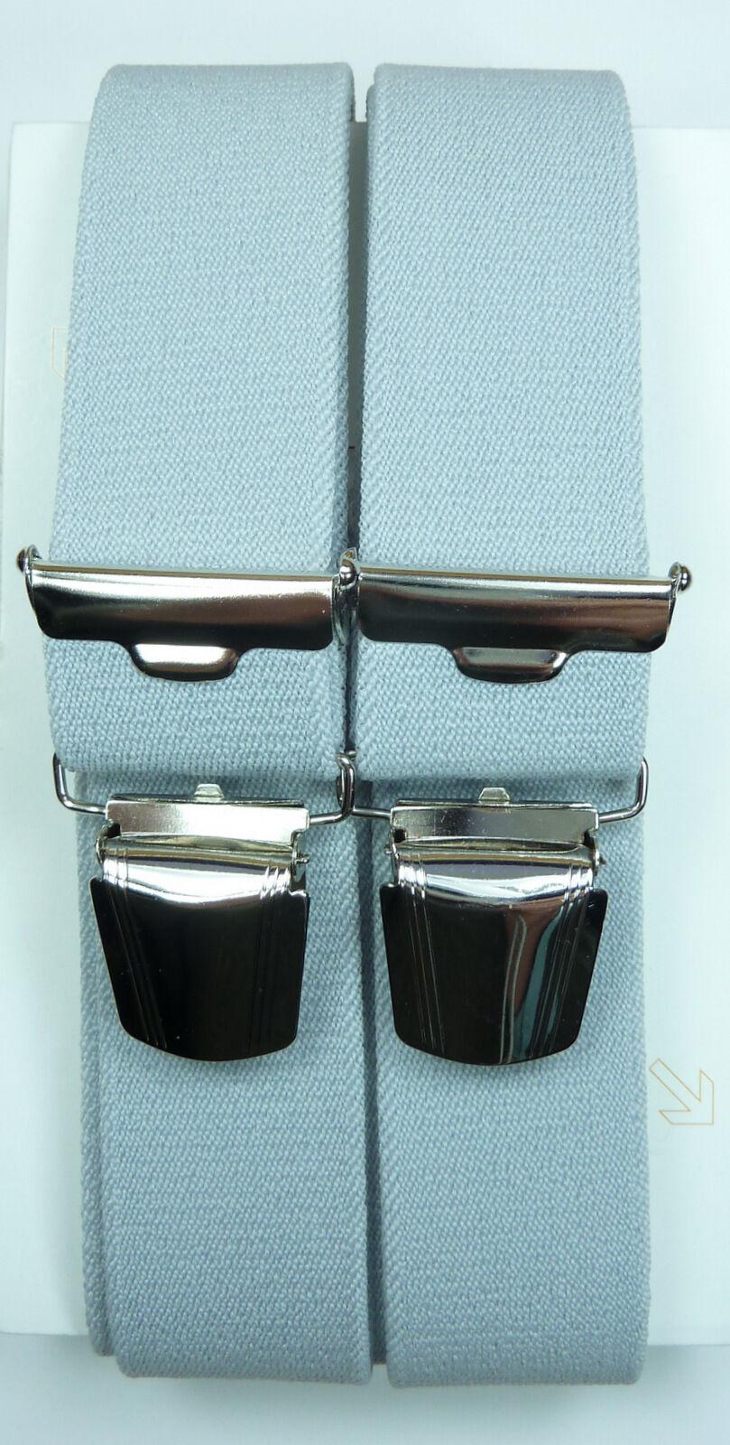 fester grauer Hosenträger,extra starke,stabile Klips,35mm breit,120cm lang