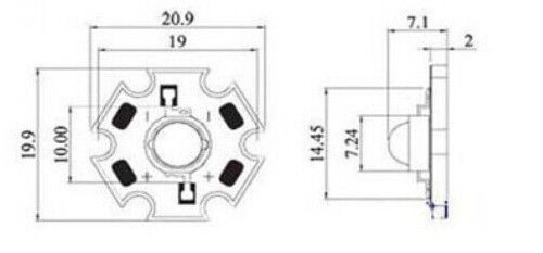 50PCS 3W  Blue High Power LED Emitter 700mA 470-475NM with 20mm Star PCB