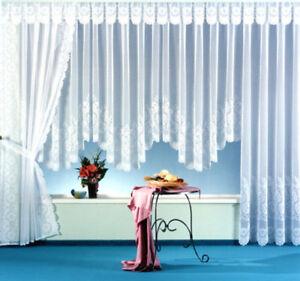 Gardine-Vorhang-Bogen-Store-Jacquard-weiss-Blumen-m-Kraeuselband-OKOTEX-Typ113