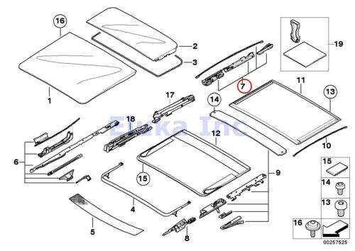 BMW Genuine Panoramic Roof Sunroof Repair Kit For Sunroof Glass Rear E53 E61 E6