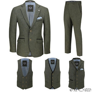 Mens Green Wool Mix Tweed 3 Piece Suit Sold Separately Blazer Trouser Waistcoat