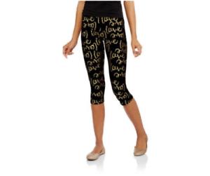 Junior No Boundaries Black Gold Love Cotton Capri Leggings Size XS NWT