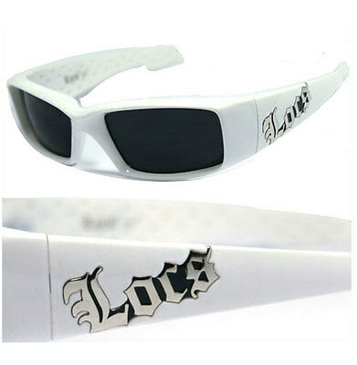 Locs Mens Cholo Biker UV400 Sunglasses White LC66