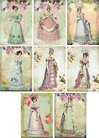 Vintage inspired regency Jane Austen cards tags ATC altered art set of 8