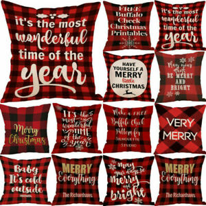 """18x18/"""" Christmas Xmas Pillow Throw Merry Cushion Deer Red Plaid Cover Case Gift"""