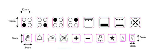 14 SYMBOLS OVEN DECALS LABELS MARKINGS STOVE STICKERS 4 RING HOB COOKER TOP