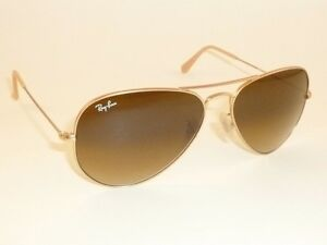 f1cbe4b8a1 Details about New RAY BAN Aviator Sunglasses Matte Gold RB 3025 112 85  Gradient Brown 55mm