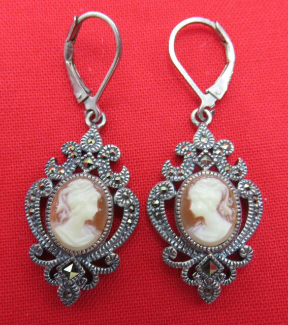 Judith Jack Sterling Silver Pierced Earrings Cameo Marcasite Designer 818g