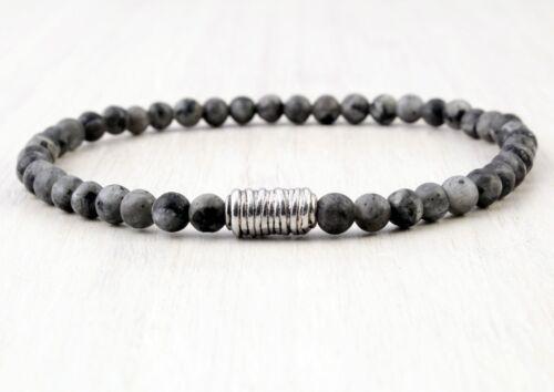 A87 Herren Armband Labradorit Perlen Ø 4 mm Boho Mala Buddha Yoga Bracelet Men
