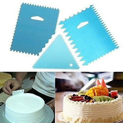 3PCS Cake Pizza Side Scraper Decorating Cutter Smoother Fondant Kitchen Tool New