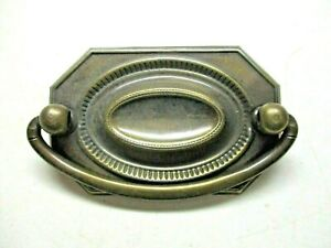 "Octagon 1950s Drop Bail Drawer Pull Handle Dark Aged Brass 2-1/4"" Centers 1 Vtg"