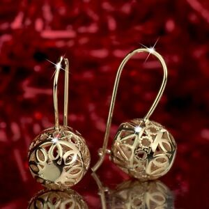 EARRINGS STUD 18K GF 18CT LIGHT ROSE GOLD FILLED DANGLE BALL FILIGREE BEAD