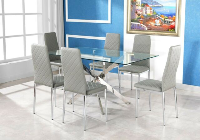 Fine Leonardo Clear Chrome Glass Dining Table Set And 6 Leather Dining Chairs Gmtry Best Dining Table And Chair Ideas Images Gmtryco