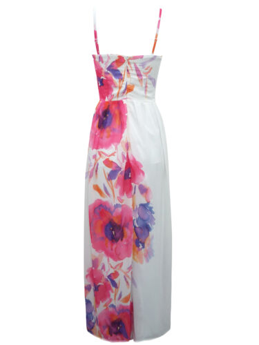 Jane Norman Embellished Maxi Evening Wedding Party Dress White //Floral UK8-12