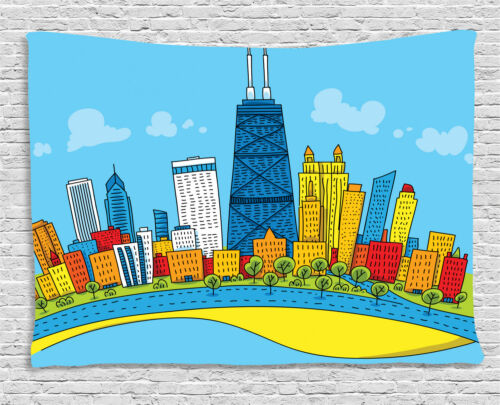 Chicago Skyline Tapestry Wall Hanging Art for Bedroom Dorm Room 2 Sizes