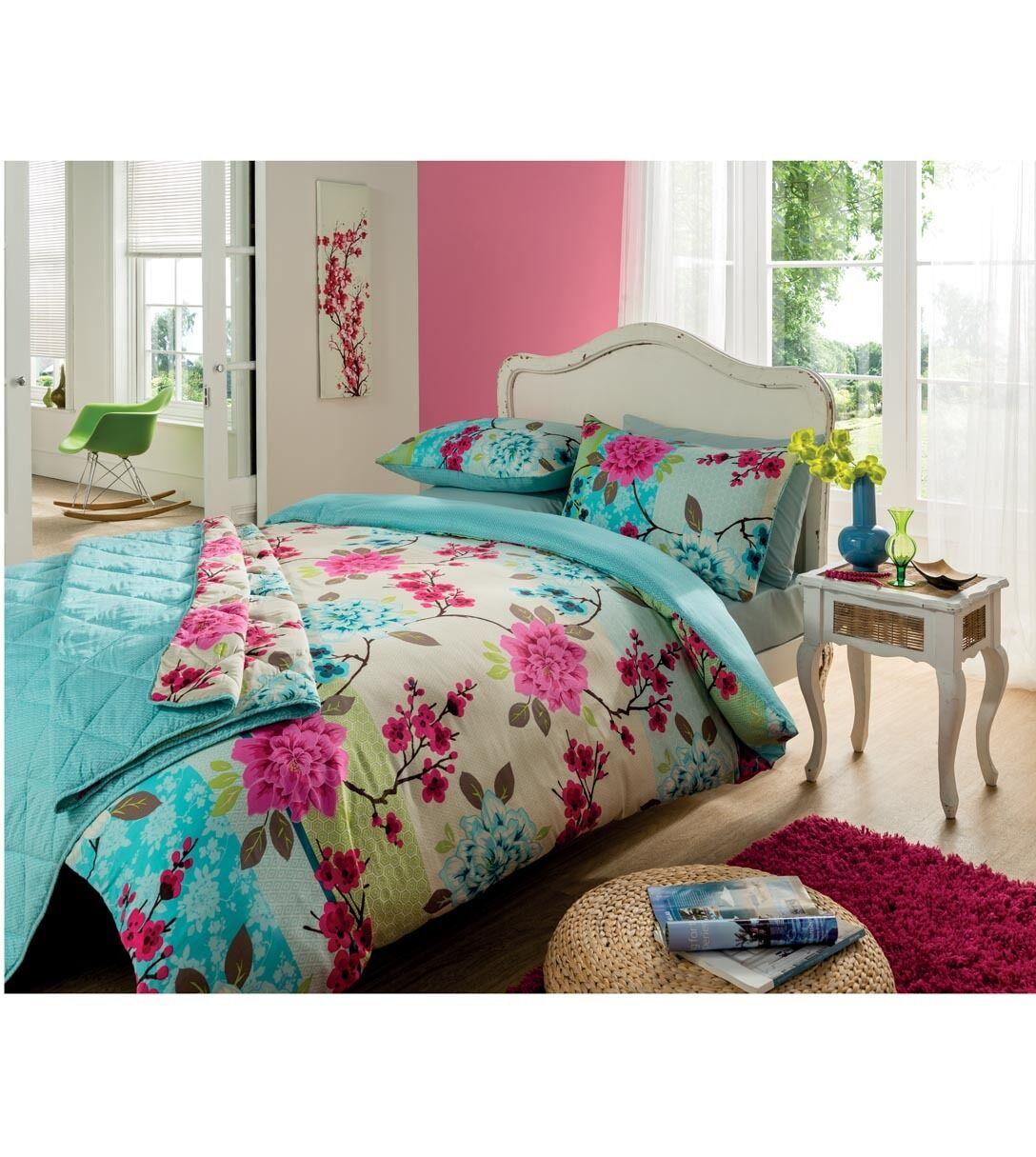 AQUA blueE STYLISH FLOWER POPPY DESIGNER LUXURY QUALITY BEDDING QUILT COVER SET