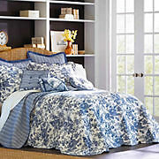 Madison Collection TOILE GARDEN King Cal BLUE Floral White BEDSPREAD Quilt