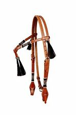 Western Natural Futurity Style Rawhide Weaved Headstall with Black Tassel