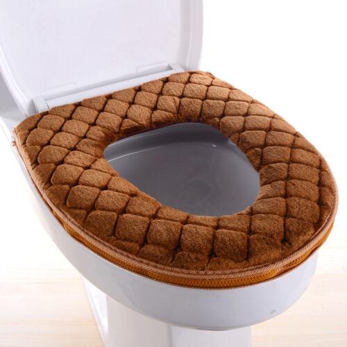 Bathroom Warmer Toilet Seat Cloth Plush Closestool Washable Lid Top Cover Pad US