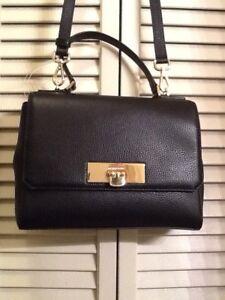 b6cd86db2fbb Michael Kors Callie Medium TH Satchel Black Leather Women's Handbag ...