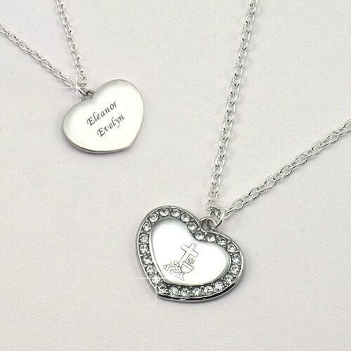 Personalised First Holy Communion Day Necklace with ANY Engraving for Girls.