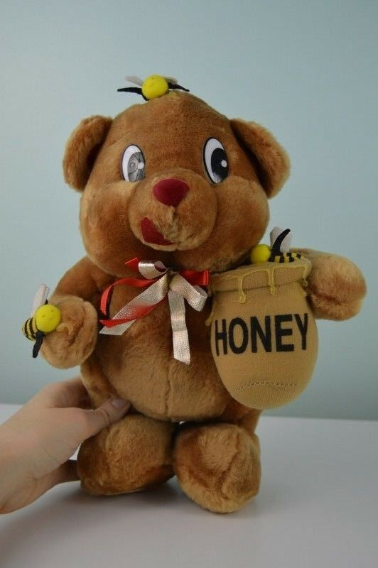 Vintage Shalom Toy Co Teddy Bear Plush Stuffed Animal Honey Pot Bees Tan Red Bow