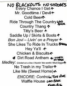 Fantastic Details About Colt Ford Official Concert Used Set List 002 Country Rock Download Free Architecture Designs Rallybritishbridgeorg
