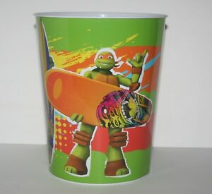 Teenage-Mutant-Turtles-Waste-Basket-Trash-Can-TMNT-Metal-Tin-Green-Black
