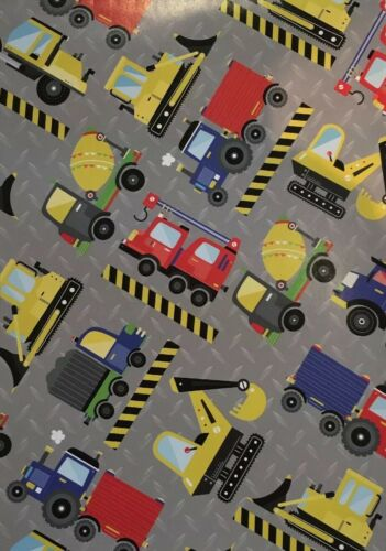 Trucks /& Lorries Gift Wrapping Paper Transport Roadworks Folded