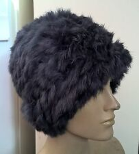 navy blue real genuine rabbit fur wool knitted hat head warmer unisex