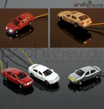 3 x Modell Autos beleuchtet mit LED für Modellbau 1:150, Modelleisenbahn  Spur N