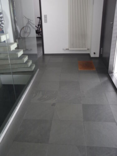 Schiefer Gris Grau Bodenplatten Schieferfliesen Schieferplatten Musterstück