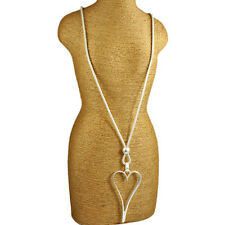 Lagenlook polished matte silver elongated large open heart pendant long necklace