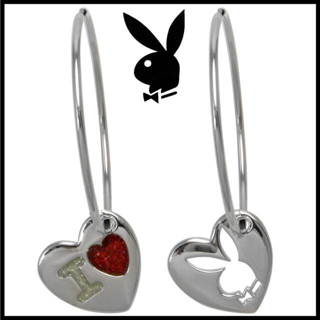 Playboy Hoop Earrings I Love Bunny Heart Charm Silver Red Endless NIB NOS Box