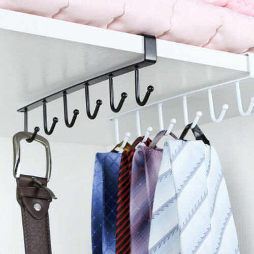 CW/_ Iron Wardrobe 6 Hooks Under Shelf Clothes Hanger Kitchen Storage Rack Cupboa