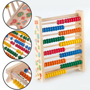 Childrens-20cm-Wooden-Bead-Abacus-Counting-Frame-Educational-Maths-Toy-UK